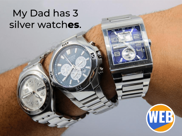 My Dad has 3 silver watches. English suffix -ish.