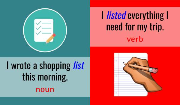 List - verb and noun