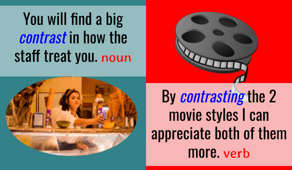 verb and noun pairs example - contrast