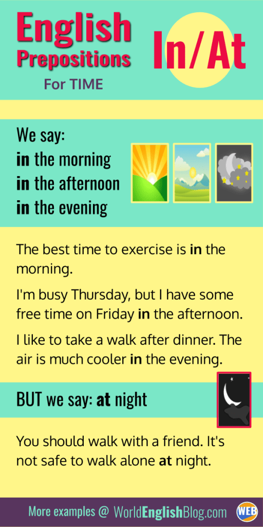 IN/AT with morning, afternoon, evening and night.