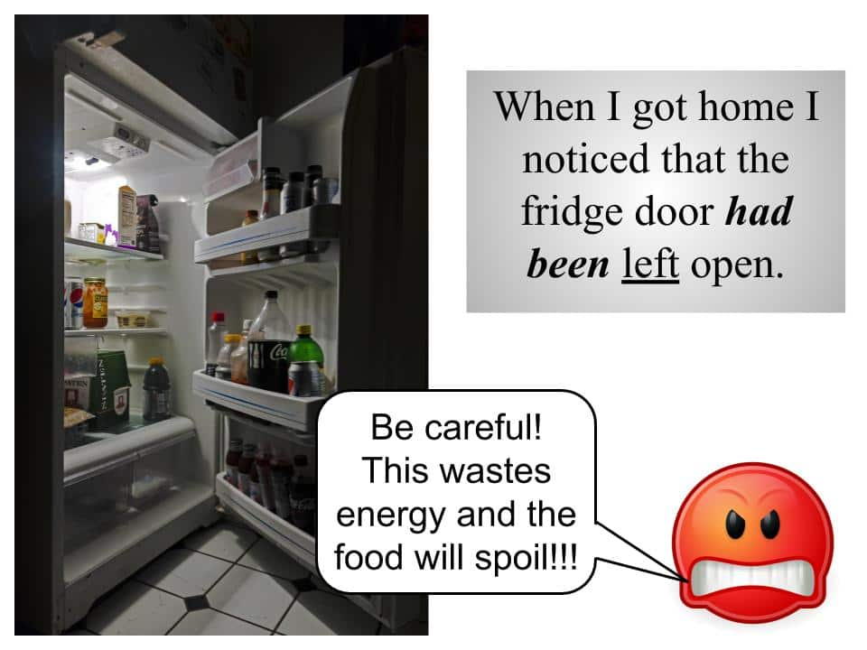 The fridge door is open