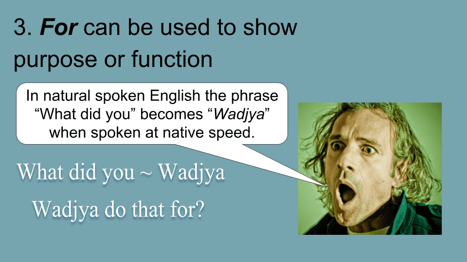 What did you do that for? = Why did you do that? Pronunciation