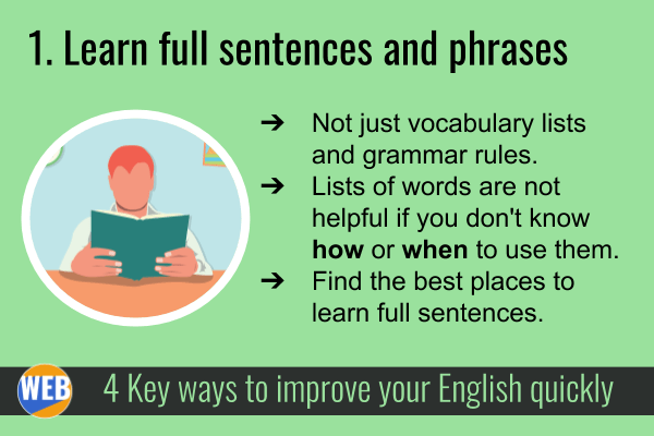 Improve your English QUICKLY 1. Learn full sentences and phrases