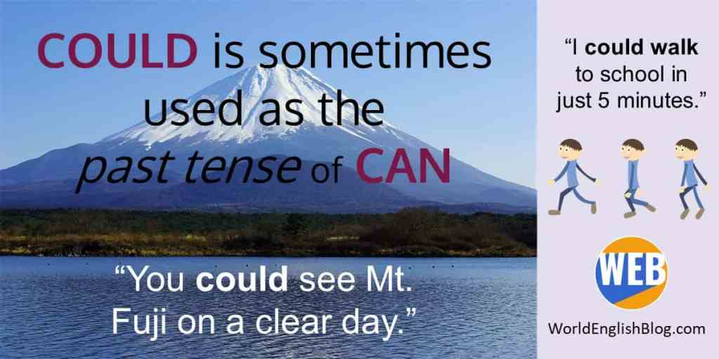Could is sometimes used as the past tense of can. Modal verbs.