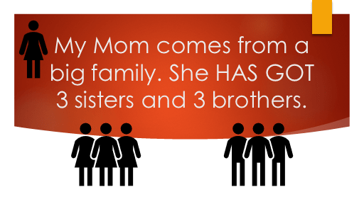 Have or Have got - My Mom comes from a big family. She has got 3 sisters and 3 brothers.