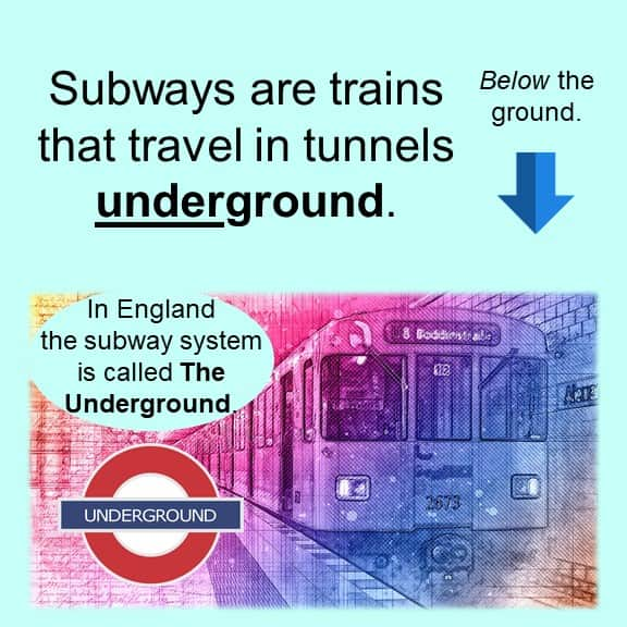 Over and Under as prefixes Subways are trains that travel in tunnels underground.