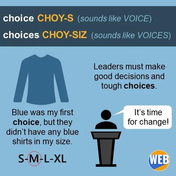 choice noun - pronunciation and examples