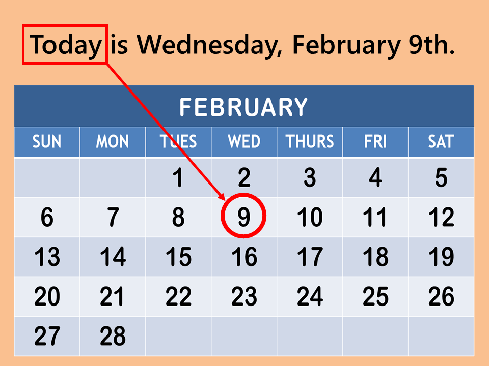 today is Wednesday, February 9th today tomorrow the day after tomorrow