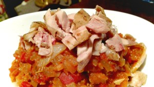 Sous vide chicken with ponzu and spicy asian tomato relish
