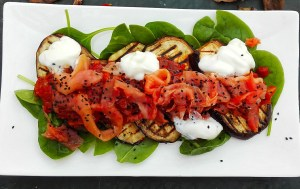 Grilled aubergine with smoked salmon and rosemary tomato relish