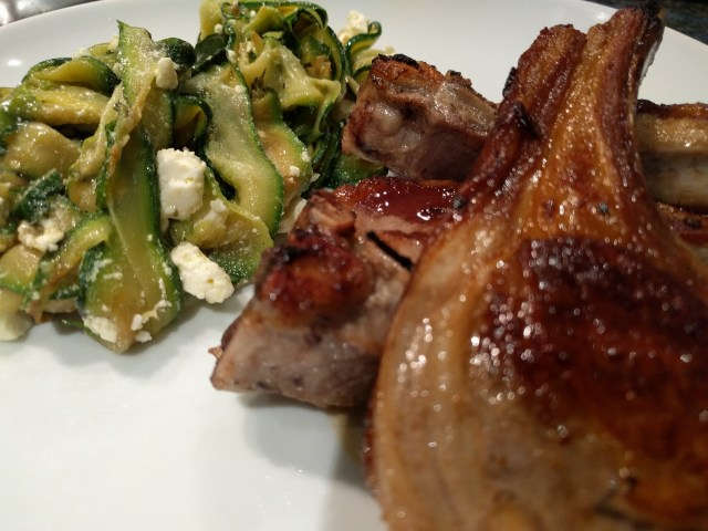 Barbecued Lamb with Zucchini, Mint and Feta Salad