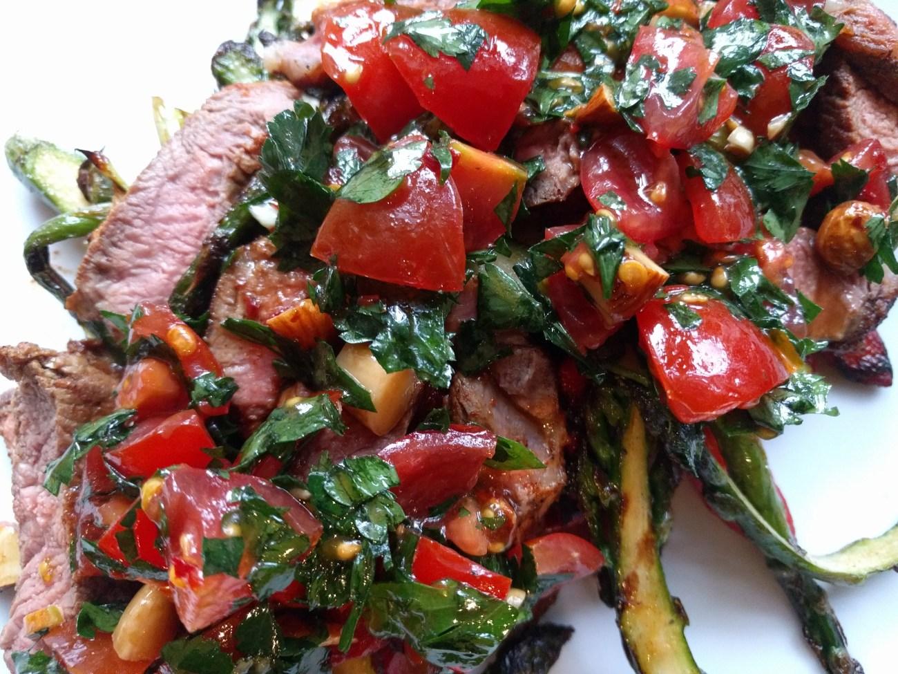 Seared steak with salbitxada sauce