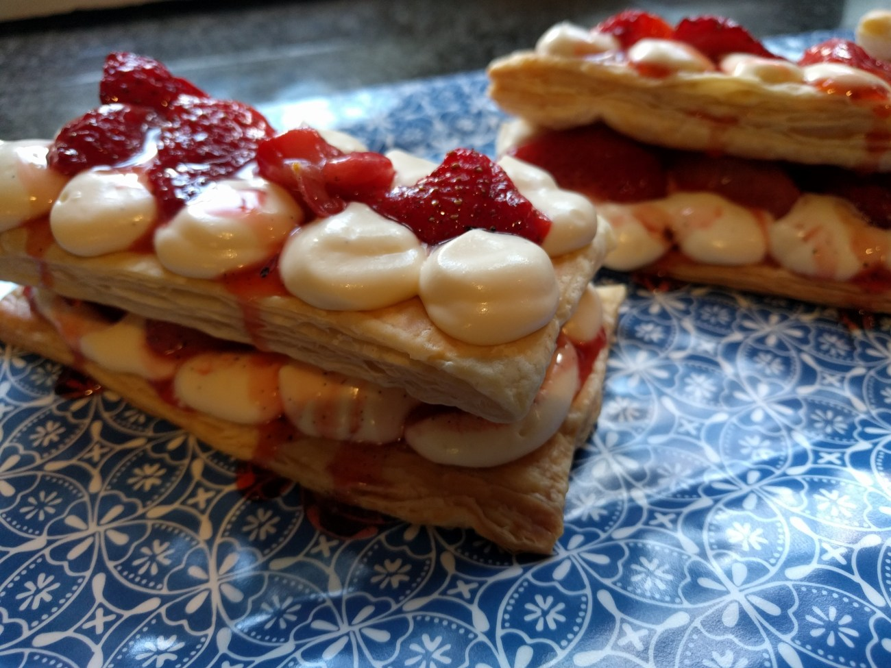 Mille-Feuille with Roast Strawberries and Mascarpone