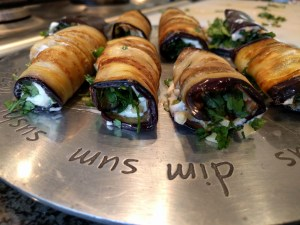 Eggplant rolls with walnuts and fresh herbs