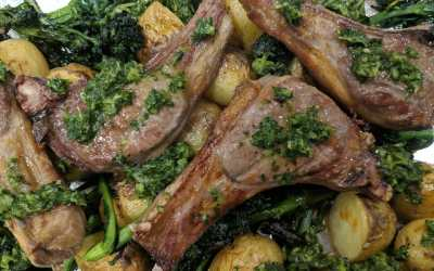 Barbecue Lamb Chops with Chimichurri Sauce, Broccoli and New Potatoes