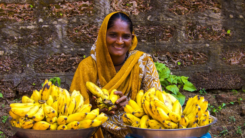 Streets of Goa with lady selling bananas.  Photo:  Ian D. Keating
