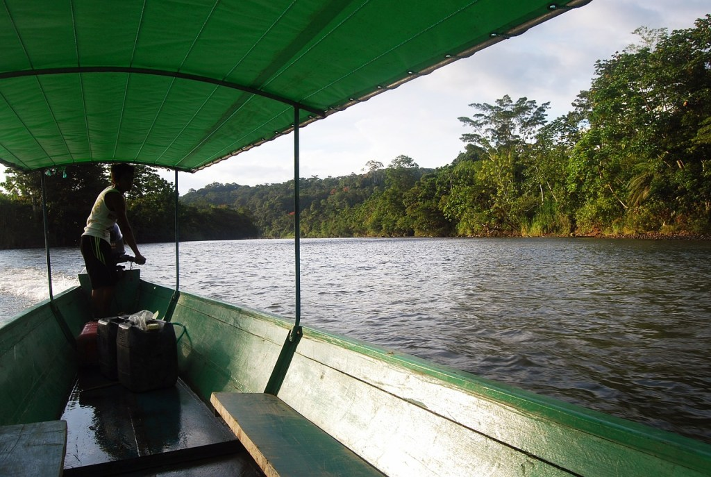 Ecuador Amazon. Driver on the river.