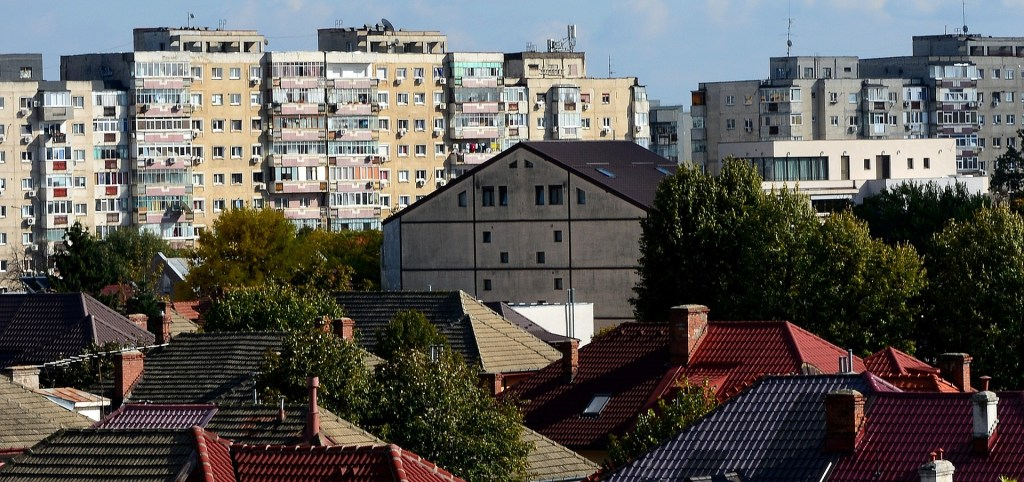 City of Bucharest showing flats and houses.
