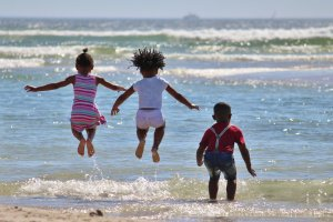 Black children on beach