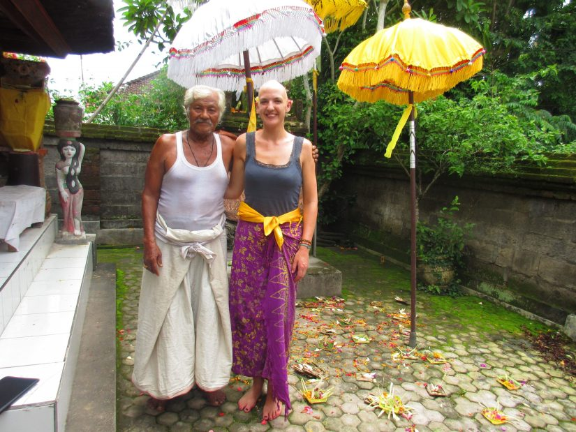 """Emma with a healer who Wayan Nuriasih (Eat, Pray, Love fame) referred to as """"grandfather"""". Photo courtesy of Emma Sothern"""