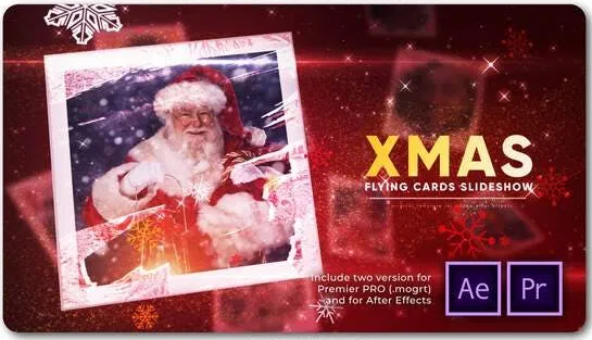 Videohive Christmas Flying Cards Slideshow 29449428
