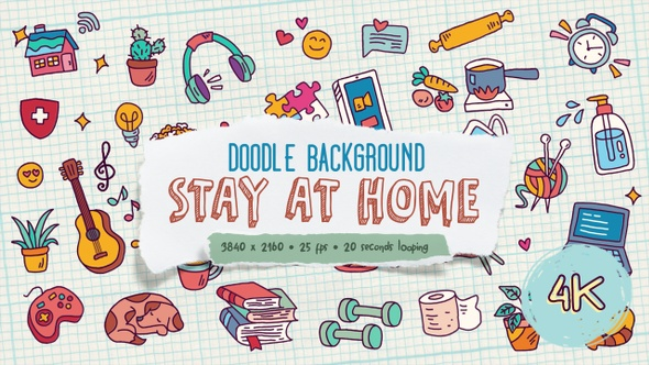 AFTER EFFECTSELEMENTSVIDEOHIVE Videohive Doodle Background and Frame – Stay At Home Free Download
