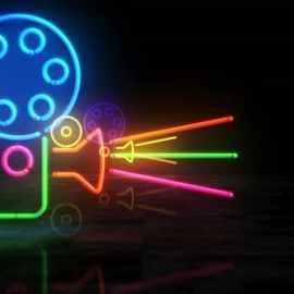 Videohive Cinema Neon Symbol 3d Flight Between 33527161 Free Download