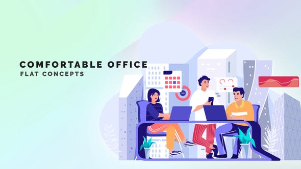 Videohive Comfortable Office Flat Concept 33559846 Free Download