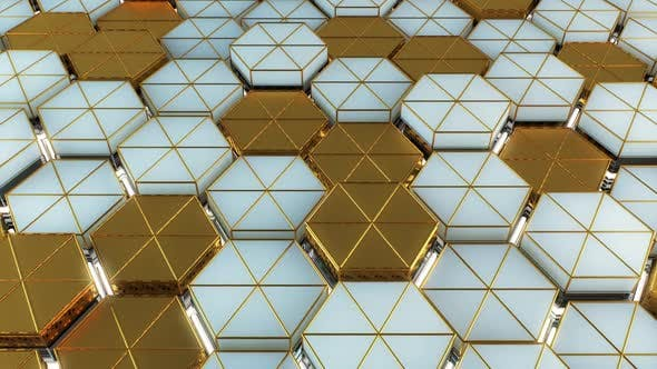 Videohive Light And Gold Hexagon Background 33527004