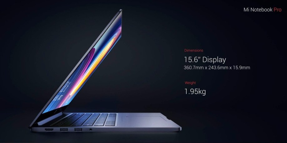 Xiaomi Mi Notebook proのディスプレイ