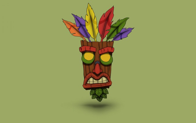 minimalizm-fon-crash-maska-art-crash-bandicoot-aku-aku-aku-1