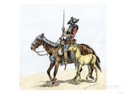 spanish-conquistador-on-a-horse-with-foal-the-origin-of-the-horse-in-colonial-america