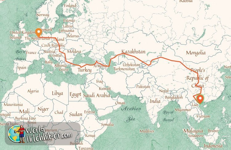 plan hitchhike from the netherlands to vietnam