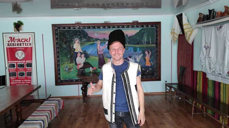 Dressed as a shepherd in Ukraine