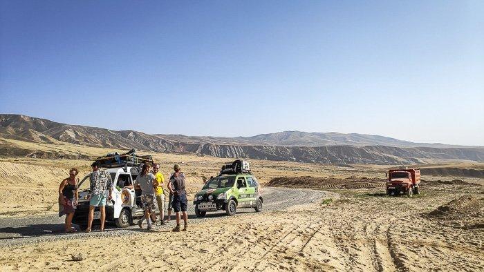 Mongol Rally cars on the Pamir Highway in Tajikistan