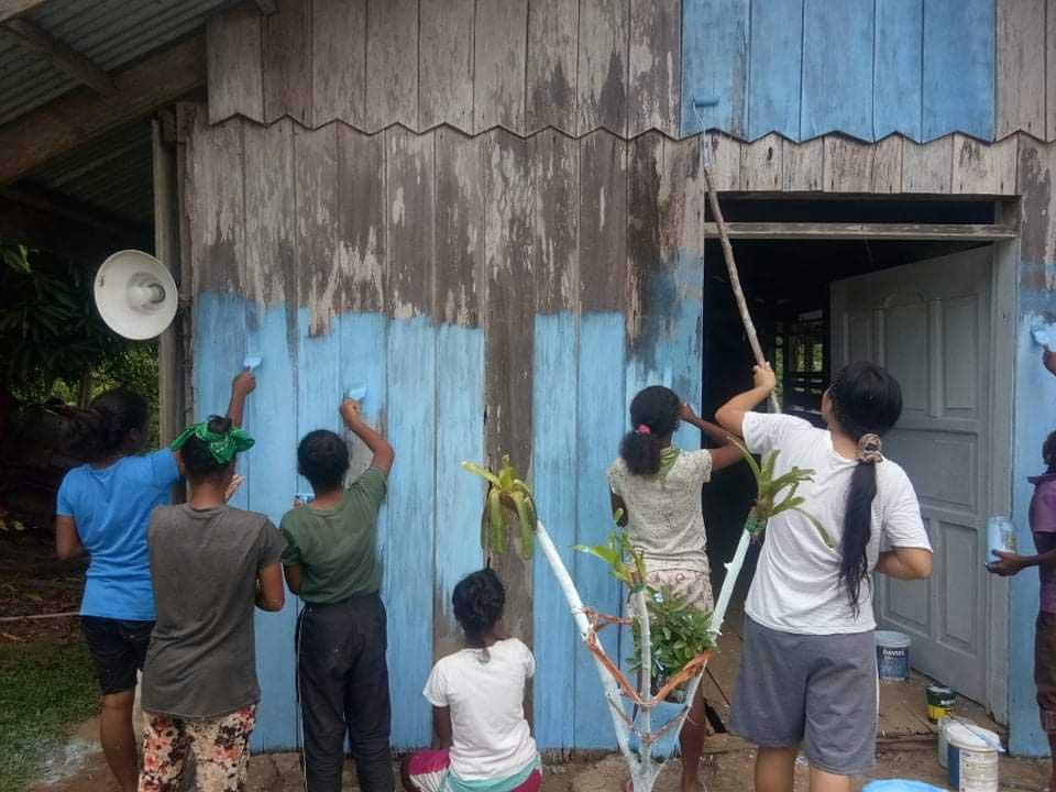 Group paining the multi-purpose building