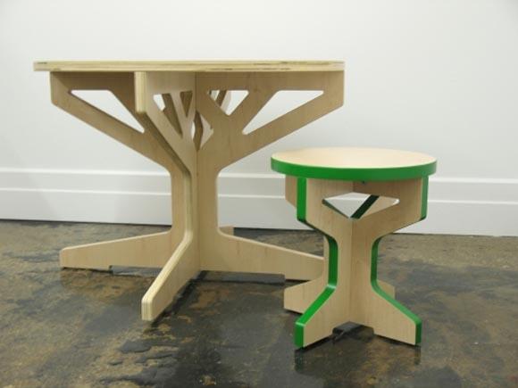 Interlocking Tree Table And Stool By April Hannah