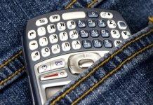 A mobile phone in back pocket