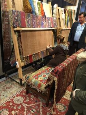 Master carpet weaver at work