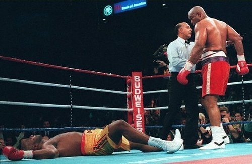 George Foreman, Age 45, Becomes Boxing'S Oldest Heavyweight Champion When He Defeated 26-Year-Old Michael Moorer In The 10Th Round