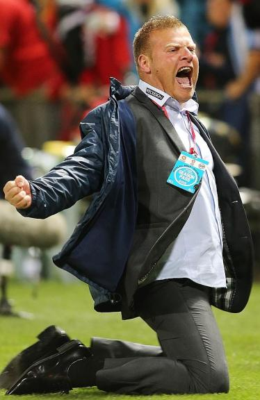 Adelaide United Coach Josep Gombau Celebrating On The Field, He Is Becoming An Icon For The Adelaide Club