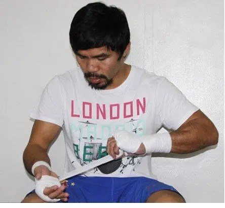 Manny Pacquiao in training camp preparing for Floyd Mayweather