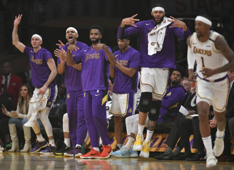 The Lakers' bench