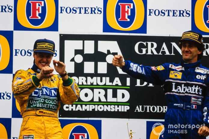 Michael Schumacher and Alain Prost