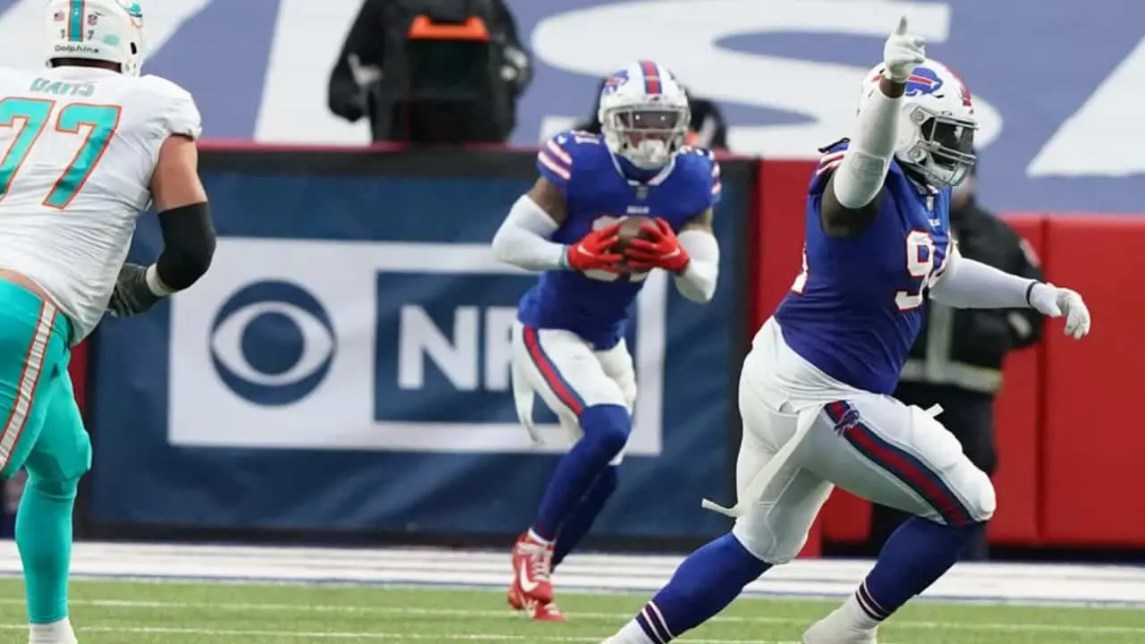 Dean Marlowe Intercepts One Of His Two Passes As The Bills Pull Away