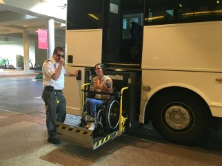 Wheelchair accessible bus to the reception at Epcot | Photo by WID