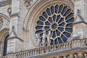 Notre-Dame rose window from outside