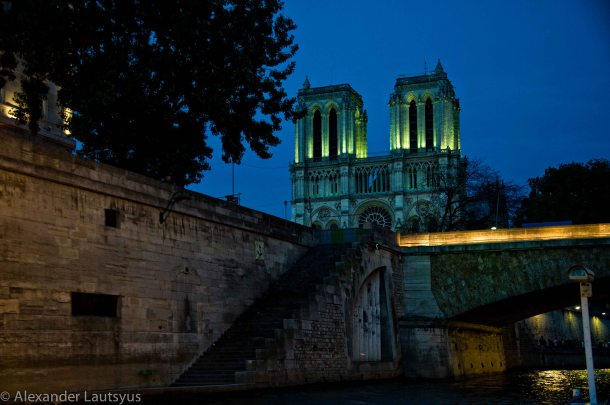 Night on the Seine river