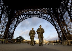 French soldiers patrol the streets of Paris in wake of the ISIS attacks. (AP/Peter Dejong, File)