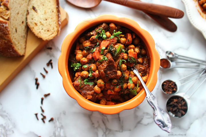 STEWED GOAT WITH CHICKPEA -Moroccan style